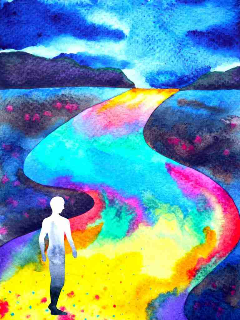 Man walking in rainbow road energy medicine energy healing Todd Cunningham Bend Oregon