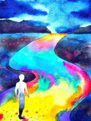 Man walking in rainbow road energy medicine energy healing Todd Cunningham Bend Oregon